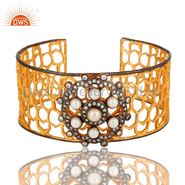 Exporter Handmade Pearl And CZ Filigree Cuff Bracelet With Yellow Gold Plated