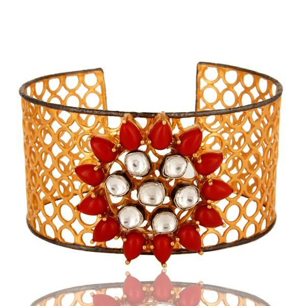 Exporter Red Coral And Crystal CZ Polki Wide Cuff Bracelet With Yellow Gold Plated