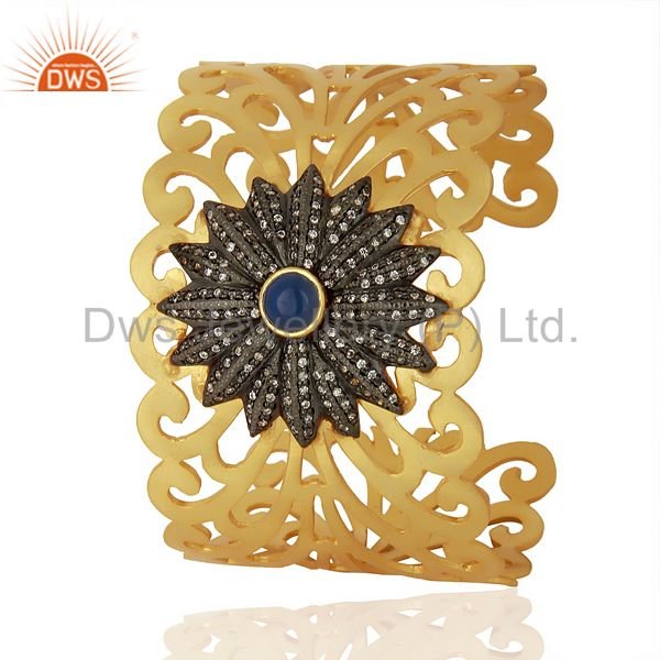 Exporter 18K Yellow Gold Plated Brass Filigree Designer Wide Cuff Bracelet With CZ