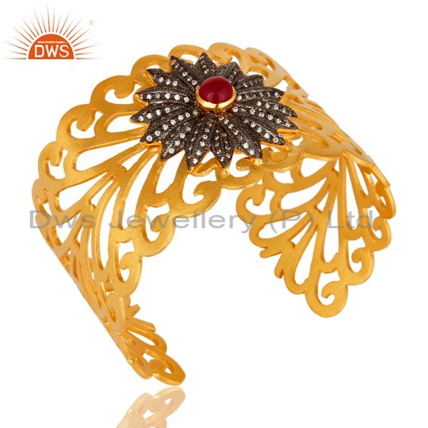 Exporter 14K Yellow Gold Plated Brass Filigree Design Wide Cuff Bracelet With Chalcedony