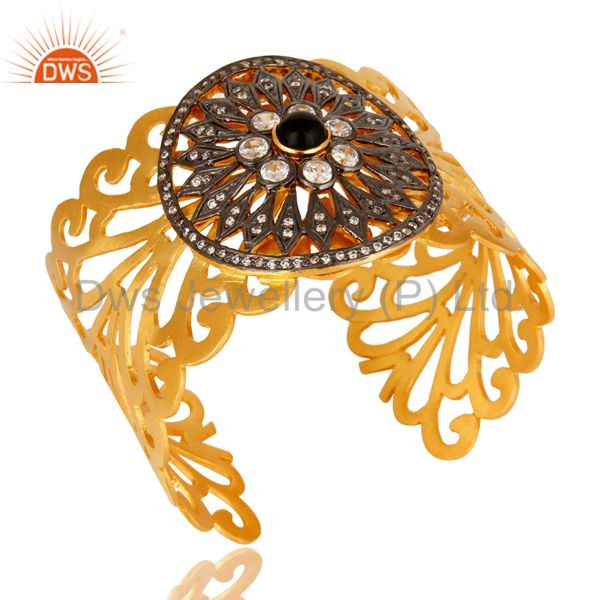 Exporter Cubic Zirconia And Black Onyx 18K Yellow Gold Plated Wide Cuff Bracelet Jewelry