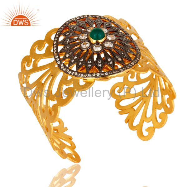 Exporter Green Onyx And CZ Designer 14K Yellow Gold Plated Wide Cuff Bracelet / Bangle