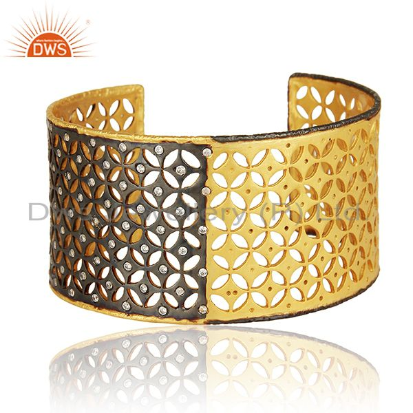 Exporter 22K Yellow Gold Plated Sterling Silver Cubic Zirconia Fashion Wide Cuff Bracelet
