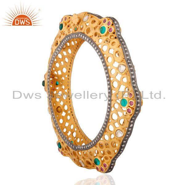 Supplier of Handmade vintage designer tourmaline 925 silver gold plated bangle