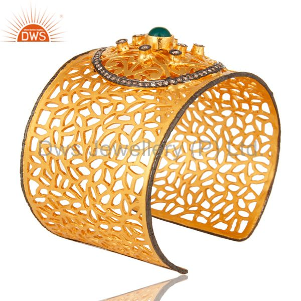 Exporter Green Onyx And CZ 22K Yellow Gold Plated Brass Filigree Cuff Bangle / Bracelet