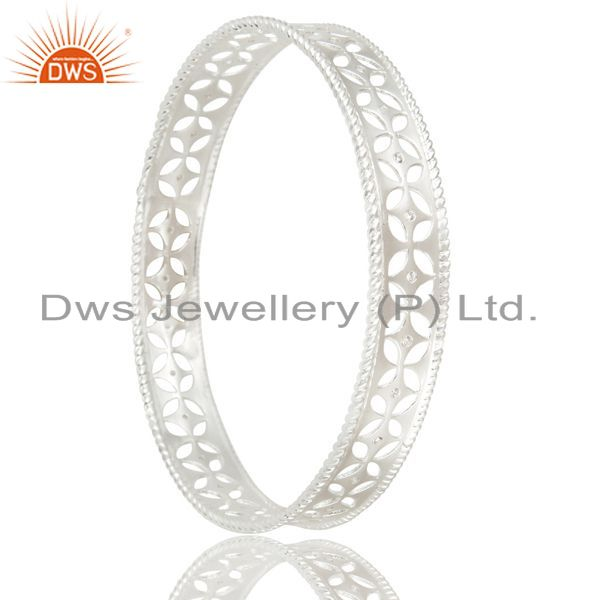 Supplier of Xmas gifts solid 925 silver crafted wide bangle cubic zirconia