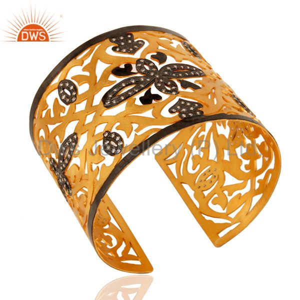 Exporter Handmade Sterling Silver With Gold Plated Filigree Design Cuff Bracelet With CZ