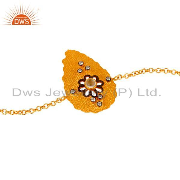 Exporter 14K Gold Plated Sterling Silver Crystal Quartz And CZ Fashion Chain Bracelet