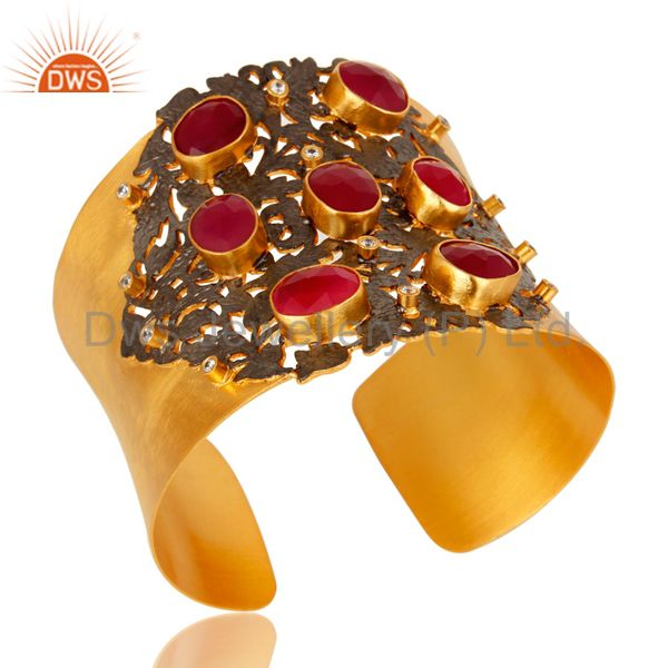 Exporter Designer Peach Moonstone And White CZ Wide Cuff With Yellow Gold Plated