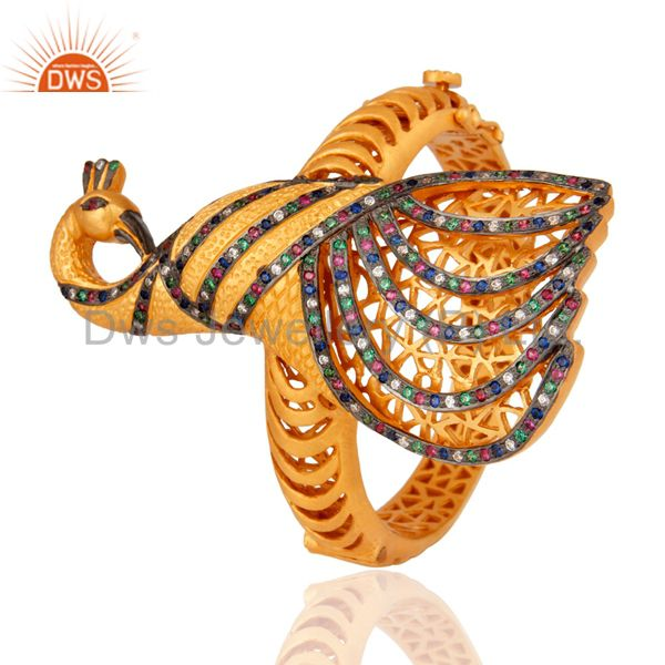 Supplier of 18k yellow gold on silver 925 cubic zirconia peacock design bangle