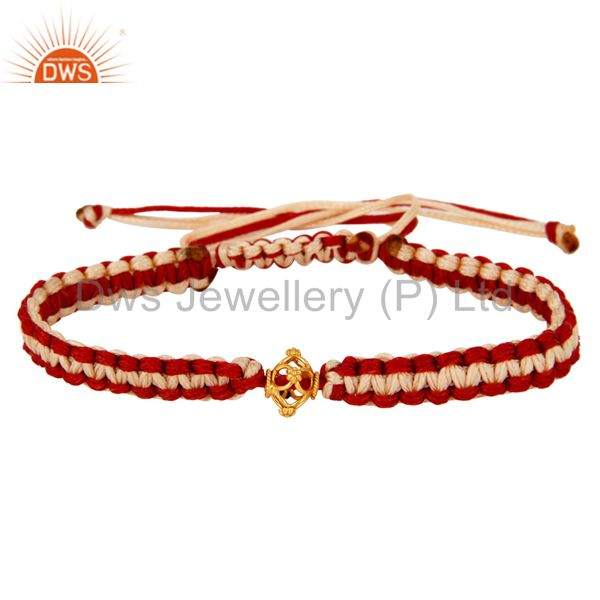 Exporter Stylish Macrame Designs Bracelet Jewelry With Solid 18K Gold Bead