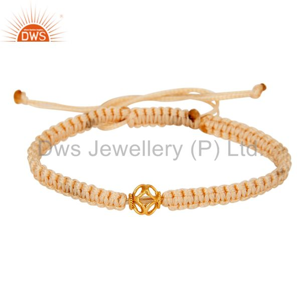 Exporter Genuine 18K Yellow Gold Bead Macrame Bracelet Jewelry - Perfect Unisex Gift