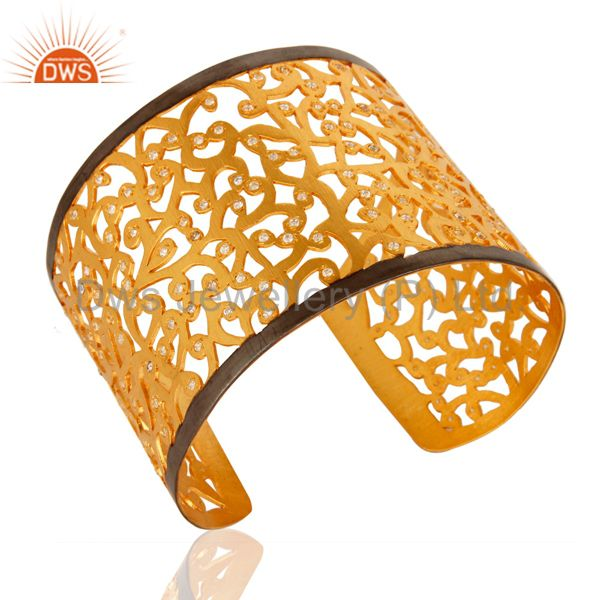 Exporter Designer 925 Silver With Gold Plated American Diamond Wide Bangle Cuff Bracelet