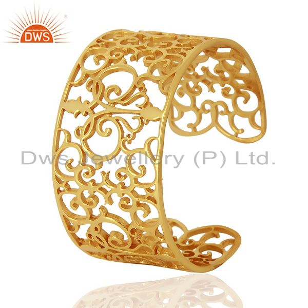 Exporter Elegant Swirl Cuff Ornate Adutable 14K Gold Plated 92.5 Sterling Silver Cuff