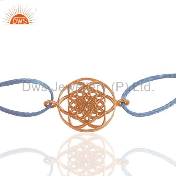 Exporter Indian Charm Rose Gold Plated 925 Plain Silver Unisex Jewelry Bracelet