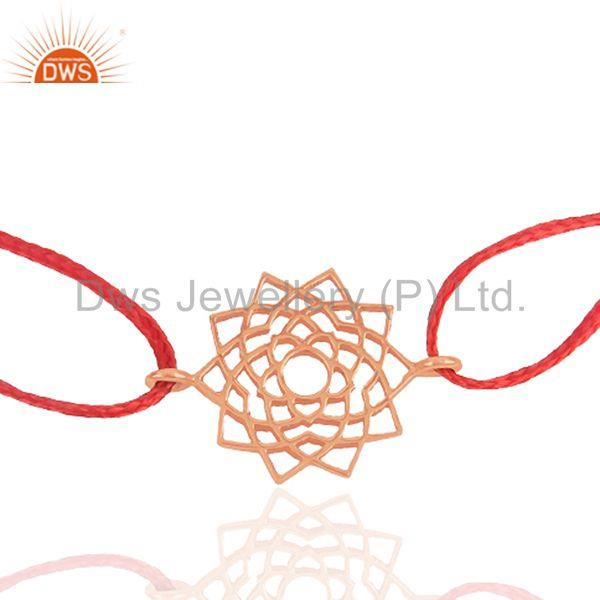 Exporter Rose Gold Plated Plain Silver Red Thread Macrame Bracelet Manufacturer