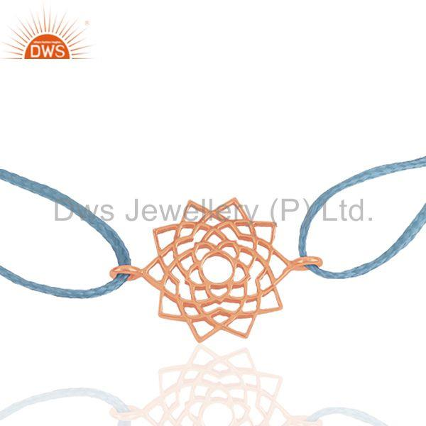 Exporter Sky Blue Thread Macrmae Bracelet With Rose Gold Plated Silver Charm