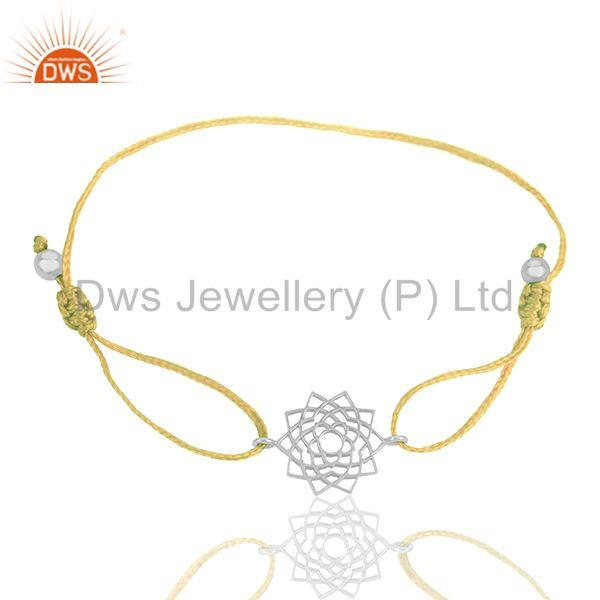 Exporter Chakra Design 925 Silver Yellow Thread Adjustable Bracelet Supplier