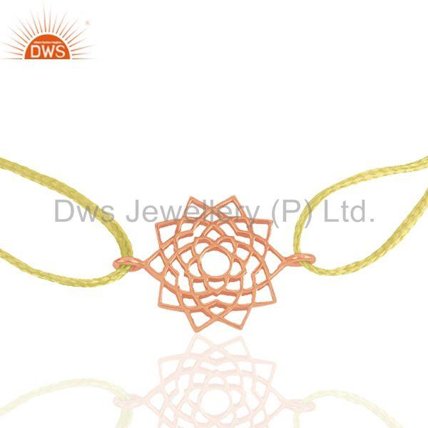 Exporter Yellow Macrame Bracelet With 925 Silver Rose Gold Plated Charm Jewelry