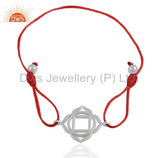 Exporter Red Thread 925 Plain Silver Lucky Charm Macrame Bracelet Wholesale