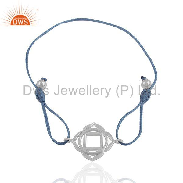 Exporter Blue Macrame Bracelet With White Sterling Plain Silver Charm Jewelry