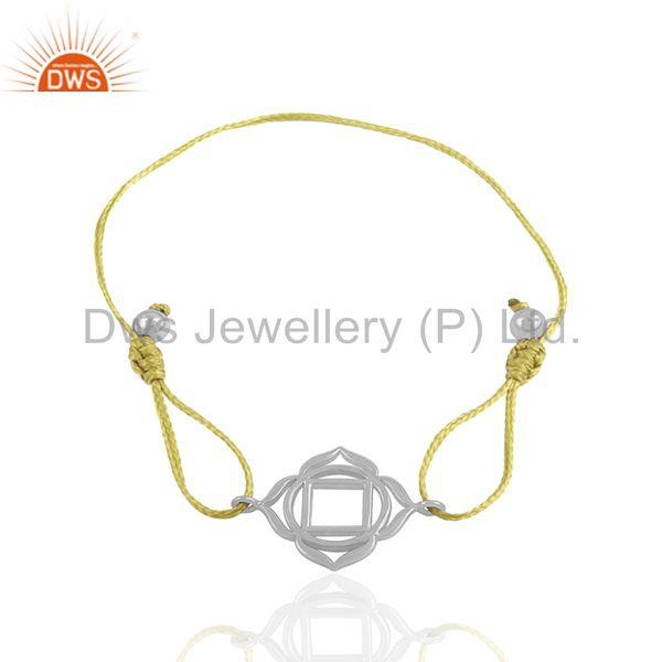 Exporter Sterling 92.5 Plain Silver Yellow Macrame Adjustable Charm Bracelet