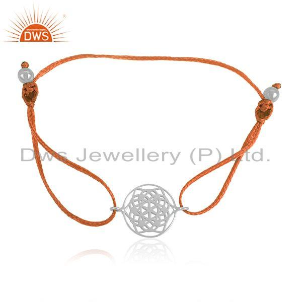 Exporter Adjustable Orange Cord 925 Sterling Silver Chakra Desing Bracelet Wholesale