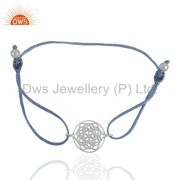 Exporter Sky Blue Macrame White Sterling Plain Silver Charm Bracelet Supplier