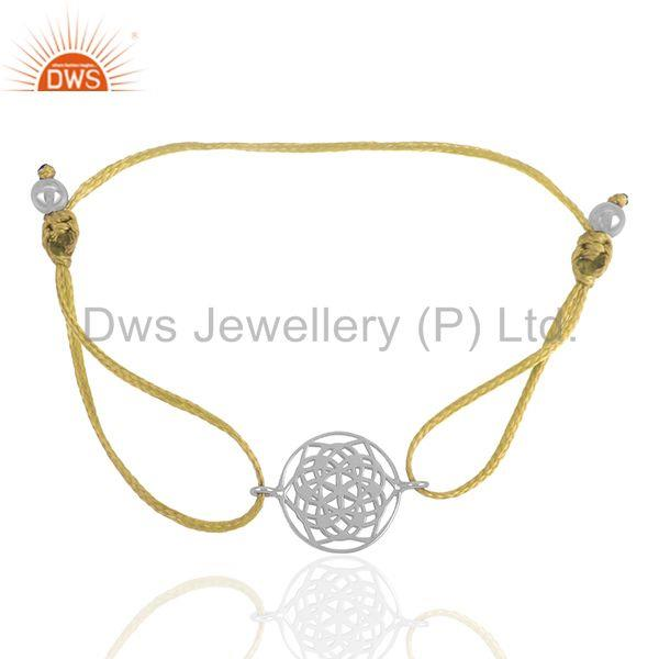 Exporter Yellow Macrame Sterling Plain Silver Charm Bracelet Jewelry Wholesale