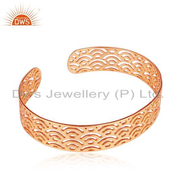 Exporter Marvelous Filigree Design Rose Gold Plated Silver Cuff Bangle