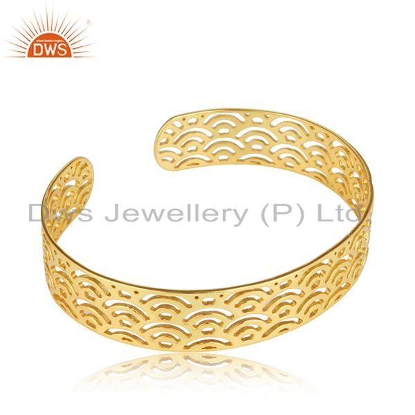 Exporter Filigree 18k Yellow Gold Plated Designer Plain Silver Cuff Bangle