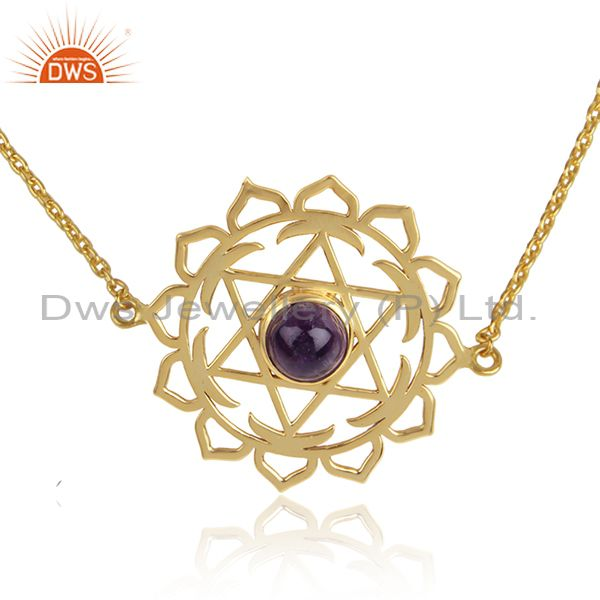 Chakra design gold plated silver amethyst gemstone chain bracelet
