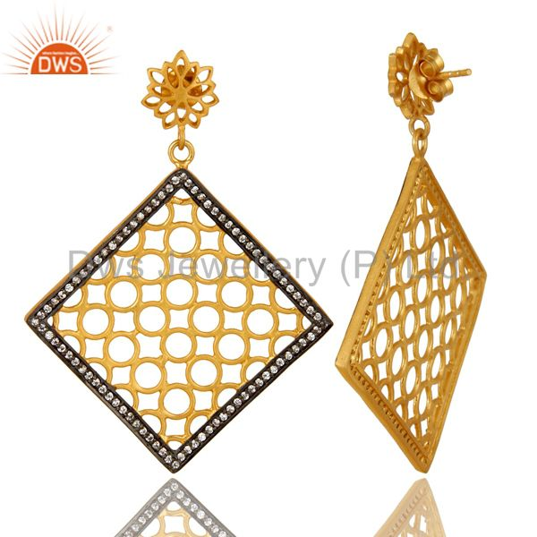 Exporter 14K Yellow Gold Plated Sterling Silver Filigree  Designer Dangle Earring With CZ