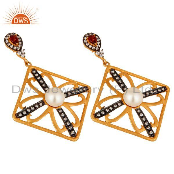 Exporter Natural Pearl Garnet Gemstone Jewelry 925 Sterling Silver 18K Gold CZ Earring