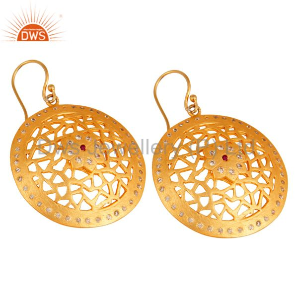 Exporter 24K Gold Plated 925 Sterling Silver White Cubic Zirconia Filigree Design Earring