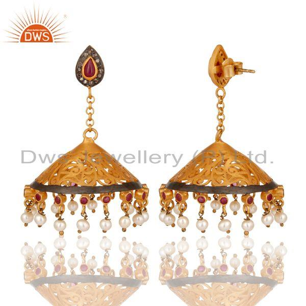 Exporter 18K Gold Plated Sterling Silver Diamond, Pearl and Ruby Ethnic Jhumka Earrings