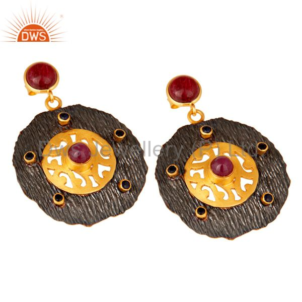 Exporter Oxidized And 22K Matte Gold Plated Silver Ruby And Blue Sapphire Disc Earrings