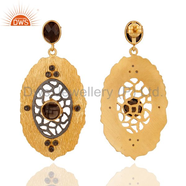 Exporter 925 Sterling Silver 24K Yellow Gold Plated Natural Smoky Quartz Dangle Earrings