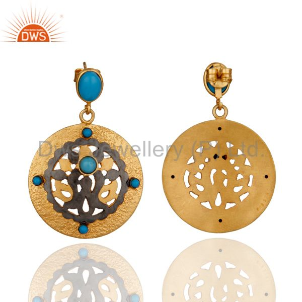 Exporter Solid Sterling Silver Gold Plated Turquoise Gemstone Dangle Earring