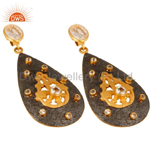 Exporter Gold Plated 925 Sterling Silver Designer Earrings With Crystal Quartz & CZ