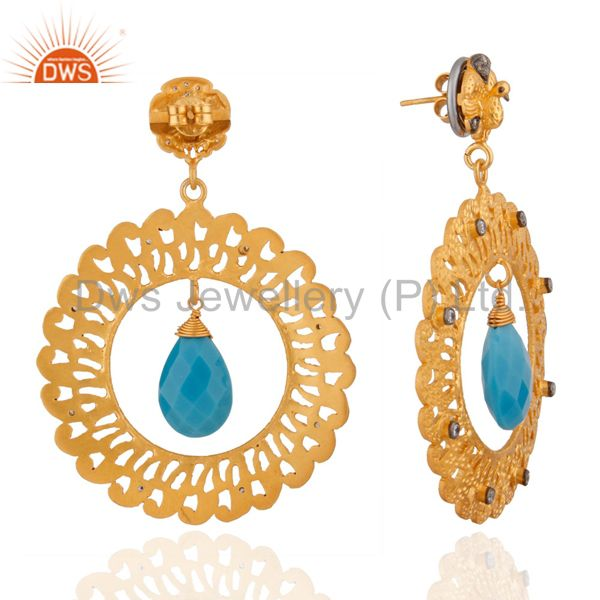 Exporter Hand Crafted 925 Sterling Silver 24k Gold Plated Turquoise Gemstone Earrings