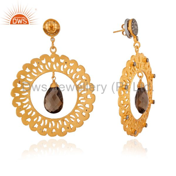 Exporter Beautiful Sterling SIlver Designer Filigree Gold Plated Inspired Drop Dangle Ear