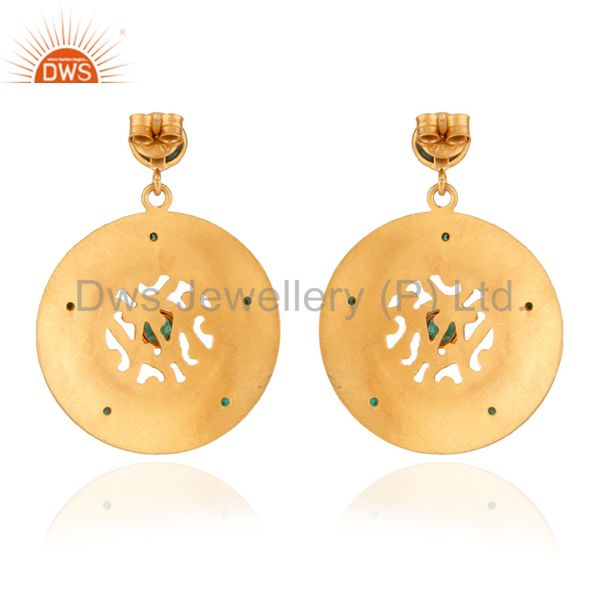 Exporter 925 Silver Emerald Stone 22K Gold Plated-Style Dangle Earrings with Matte Finis