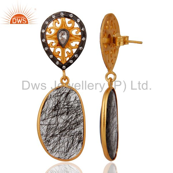 Exporter Designer 925 Sterling Silver Tourmalinated Quartz Earrings With 24k Gold Plated