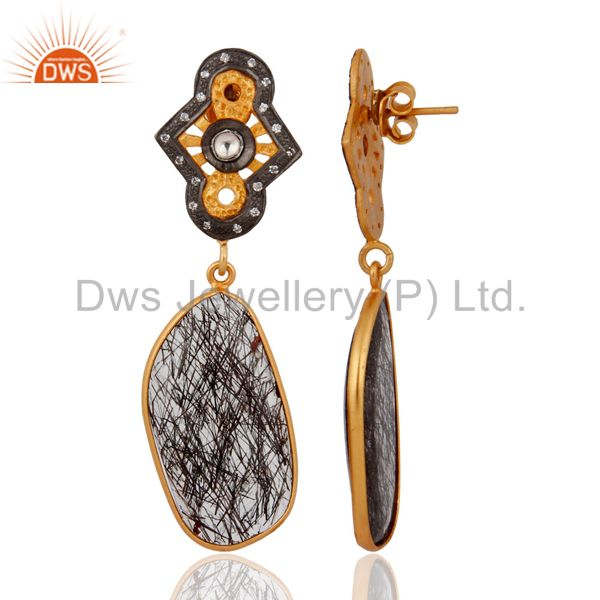 Exporter 925 Sterling Silver Silver Natural Tourmalated Quartz Earrings With Gold Plated