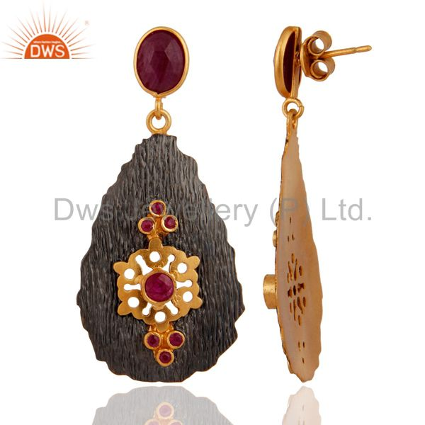 Exporter Handmade 925 Sterling Silver Gold Plated Gemstone Ruby Earrings Jewelry