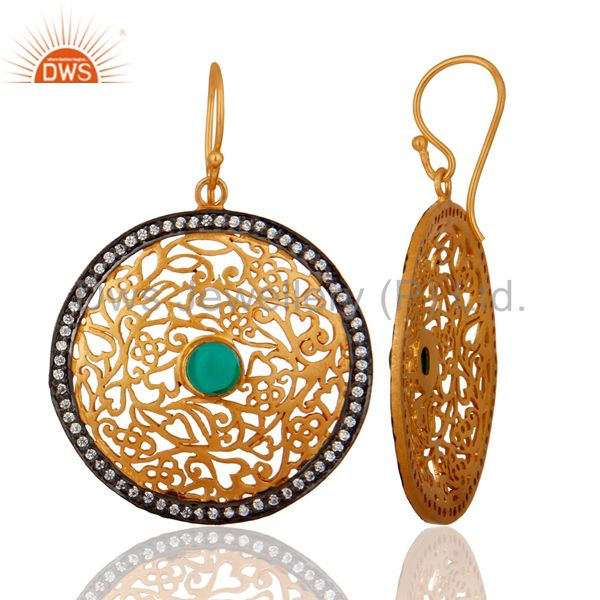 Exporter Gold Plated Ladies Sterling Silver Unique Filigree Designer White Zircon Earring