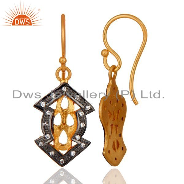 Exporter Handmade Designer 18k Yellow Gold Over 925 Sterling Silver White Zircon Earrings
