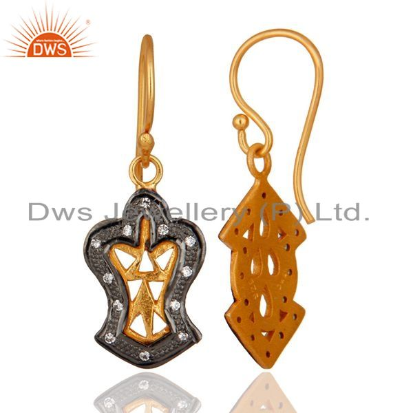 Exporter Handmade Vintage Style Gold Plated 925 Sterling Silver Cubic Zirconia Earrings