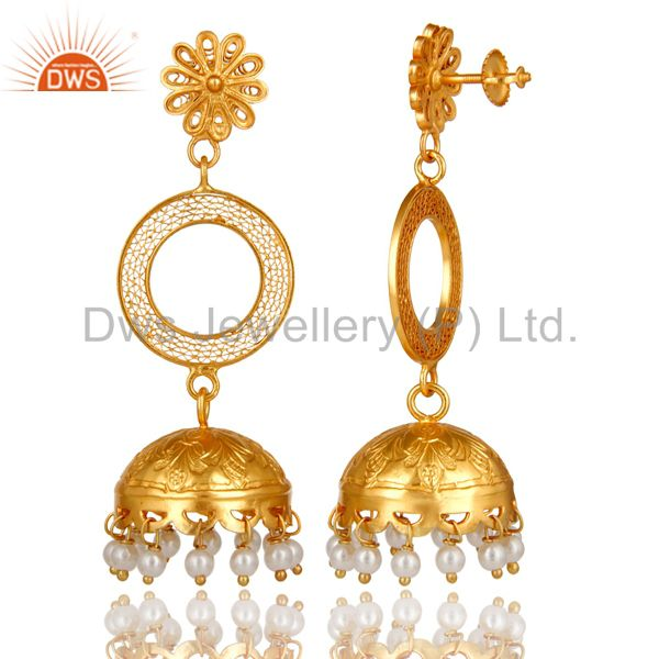 Exporter 22K Yellow Gold Plated Sterling Silver Natural Pearl Designer Jhumka Earrings